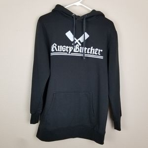 Rusty Butcher| Black pullover graphic hoodie M